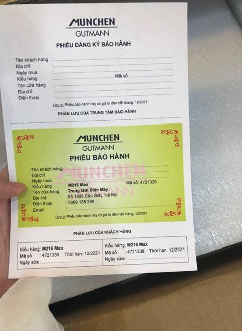 Phiếu bảo hành bếp từ Munchen giả