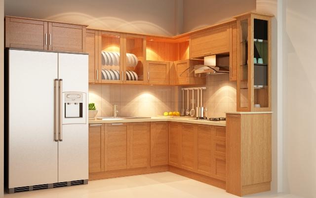 Tủ bếp gỗ sồi đỏ cao cấp