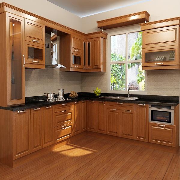 Tủ bếp gỗ HDF phủ veernia Xoan Đào hoặc Sồi (Sài Gòn)