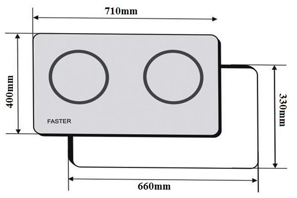 kích thước lắp đặt bếp từ faster fs-id 266