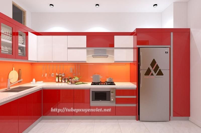 Tủ bếp nhựa Laminate kiểu chữ L