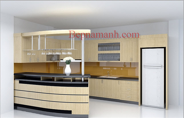 Tủ bếp Gỗ Veneer Sồi Nga 02